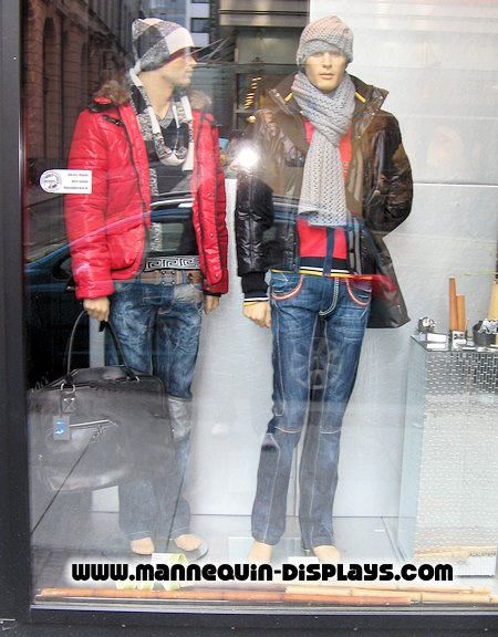 male mannequins with stylish caps